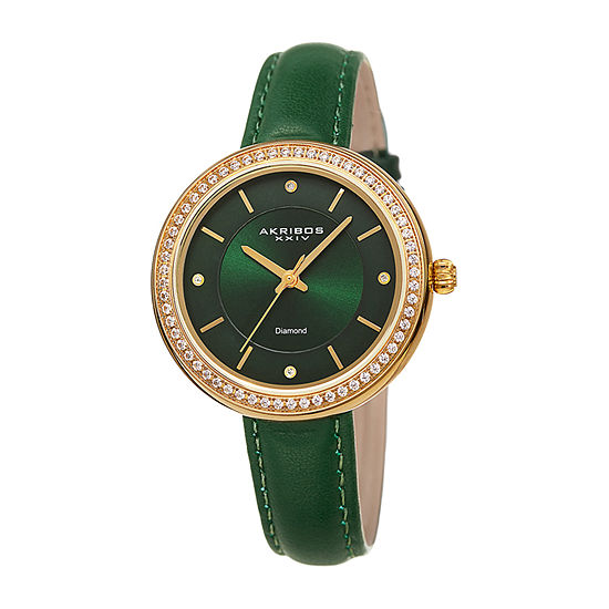 Akribos XXIV Womens Green Strap Watch-A-1067gn