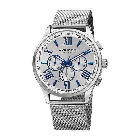 Akribos XXIV Mens Silver Tone Bracelet Watch-A-844ss