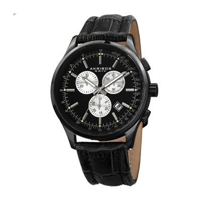 Akribos XXIV Mens Black Strap Watch-A-863bk