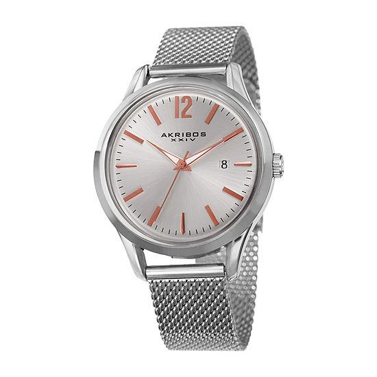 Akribos XXIV Mens Silver Tone Bracelet Watch-A-920ss