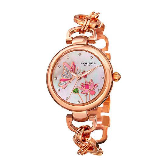 Akribos XXIV Womens Rose Goldtone Bracelet Watch-A-934rg