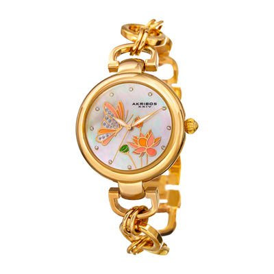 Akribos XXIV Womens Gold Tone Bracelet Watch-A-934yg