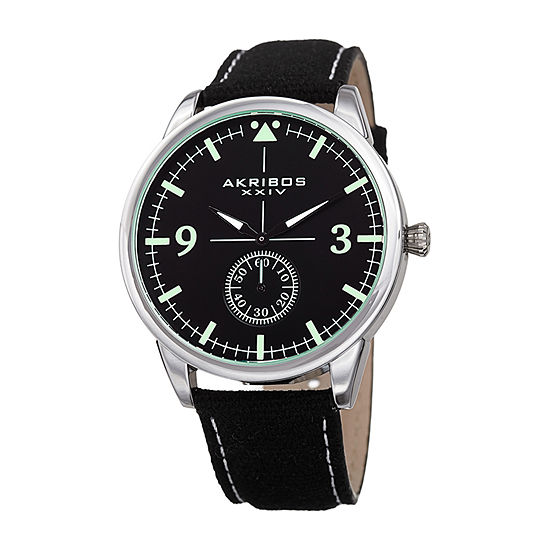 Akribos Xxiv Mens Black Strap Watch A 938bk
