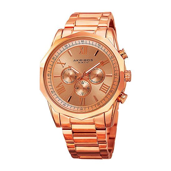 Akribos XXIV Mens Rose Goldtone Bracelet Watch-A-940rg