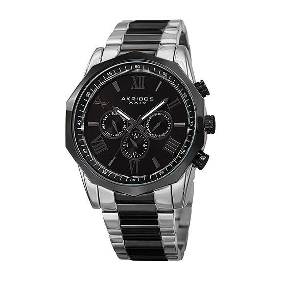 Akribos XXIV Mens Silver Tone Bracelet Watch-A-940ttb