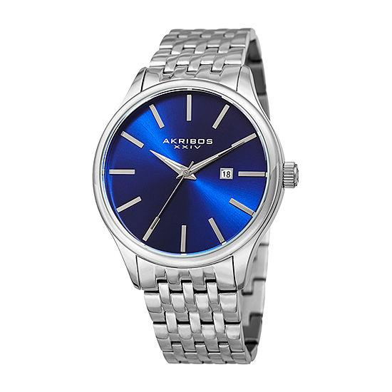 Akribos XXIV Mens Silver Tone Bracelet Watch-A-941ssbu