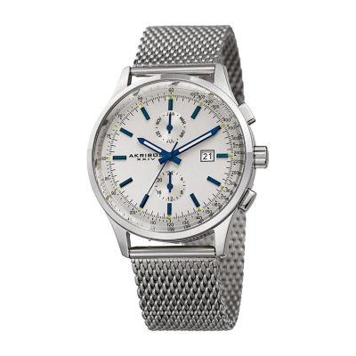 Akribos XXIV Mens Silver Tone Bracelet Watch-A-944ss
