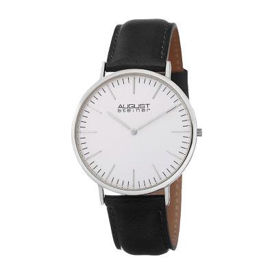 August Steiner Mens Black Strap Watch-As-8084xbk