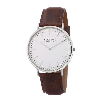 August Steiner Mens Brown Strap Watch-As-8084xbr