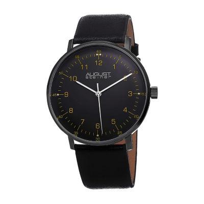 August Steiner Mens Black Strap Watch-As-8090blk