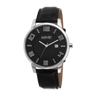 August Steiner Mens Black Strap Watch-As-8108bks