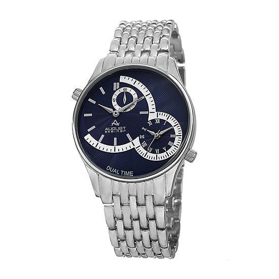August Steiner Mens Silver Tone Bracelet Watch-As-8141bu