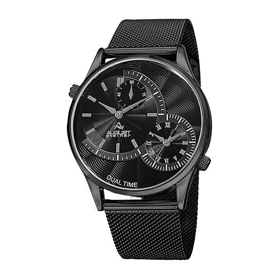 August Steiner Mens Black Bracelet Watch-As-8168bk