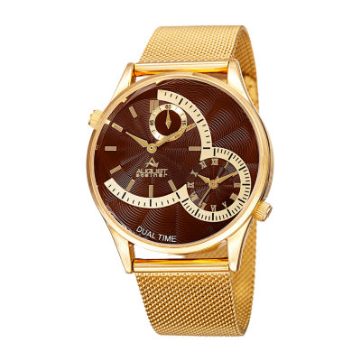 August Steiner Mens Gold Tone Bracelet Watch-As-8168ygbr