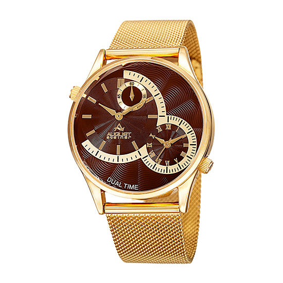 August Steiner Mens Gold Tone Bracelet Watch As 8168ygbr