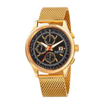 August Steiner Mens Gold Tone Bracelet Watch-As-8194ygb