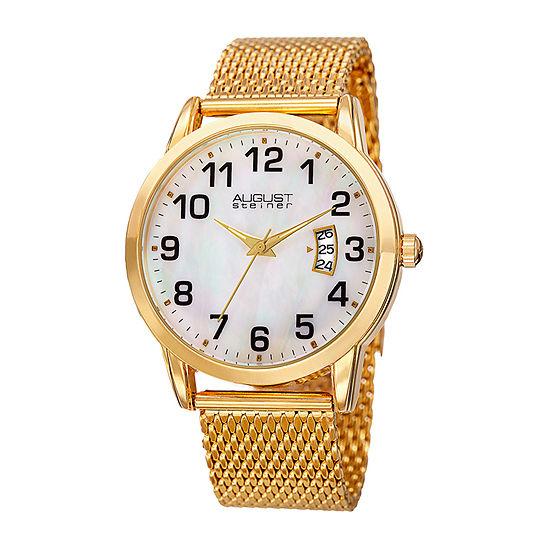 August Steiner Mens Gold Tone Bracelet Watch-As-8195yg