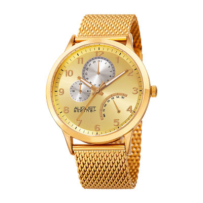 August Steiner Mens Gold Tone Bracelet Watch-As-8230yg