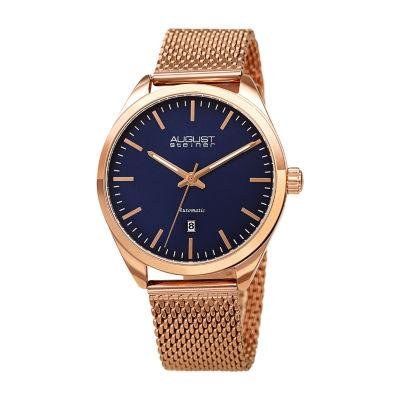 August Steiner Mens Rose Gold tone Bracelet Watch-As-8265rgbu