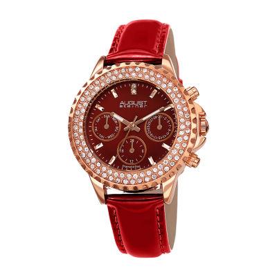 August Steiner Womens Red Strap Watch-As-8267rd