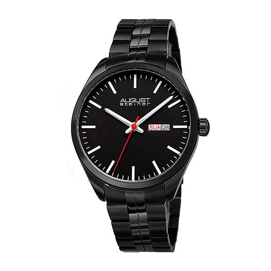 August Steiner Mens Black Bracelet Watch-As-8271bk