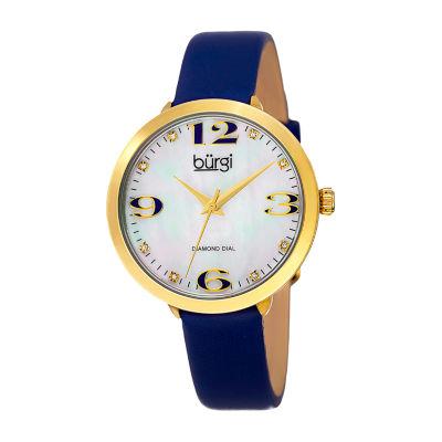 Burgi Womens Blue Strap Watch-B-119bu