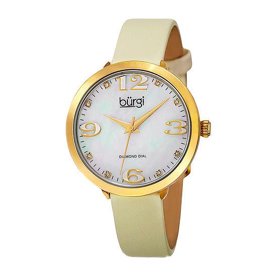 Burgi Womens White Strap Watch-B-119yg