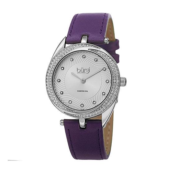 Burgi Womens Purple Strap Watch-B-122pu