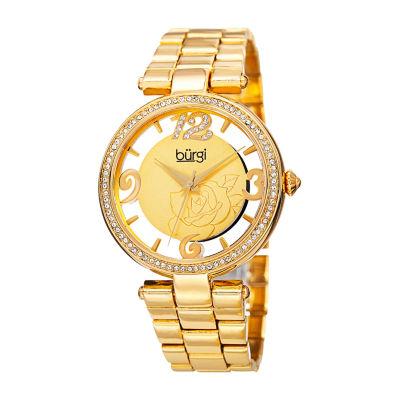 Burgi Womens Gold Tone Bracelet Watch-B-148yg