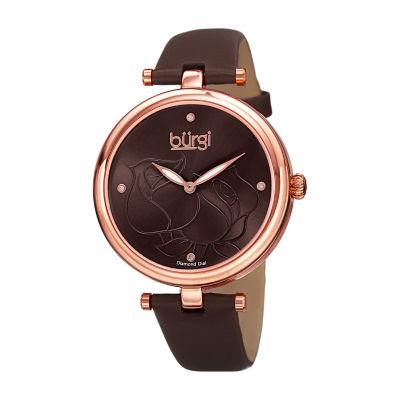 Burgi Womens Brown Strap Watch-B-151br
