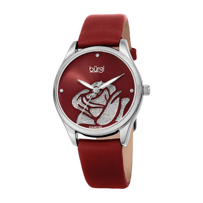 Burgi Womens Red Strap Watch-B-189rd