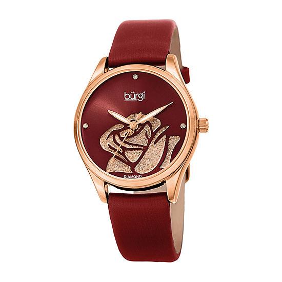 Burgi Womens Red Strap Watch-B-189rgr