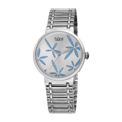 Burgi Womens Silver Tone Bracelet Watch-B-190ss