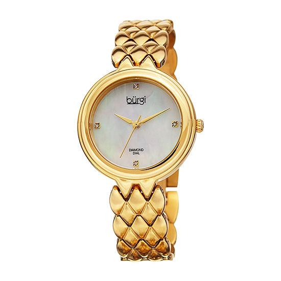 Burgi Womens Gold Tone Bracelet Watch-B-193yg