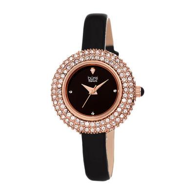 Burgi Not Applicable Womens Black Strap Watch-B-195bkr