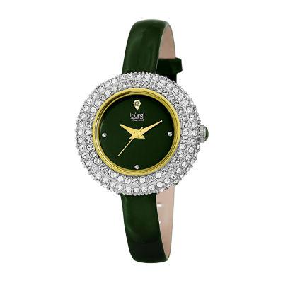 Burgi Womens Green Strap Watch-B-195gn
