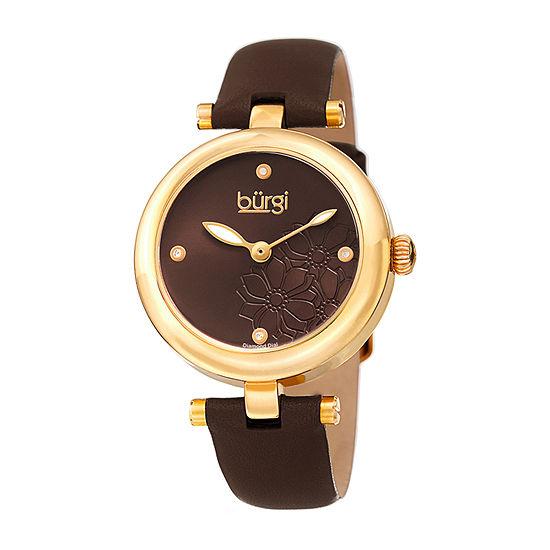 Burgi Womens Brown Strap Watch-B-197br