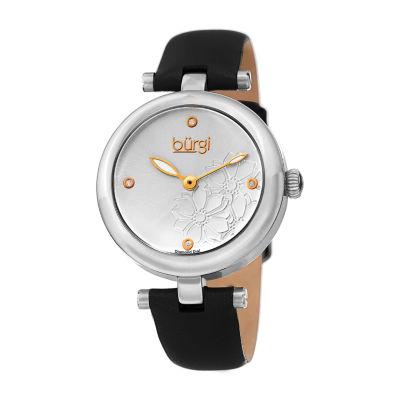 Burgi Womens Black Strap Watch-B-197ssb
