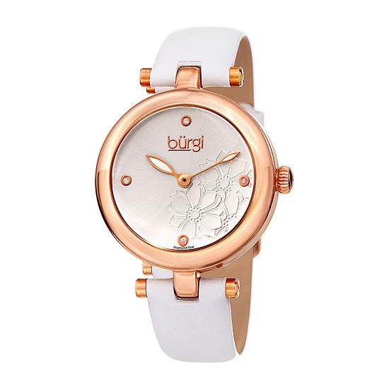 Burgi Womens White Strap Watch-B-197wtr