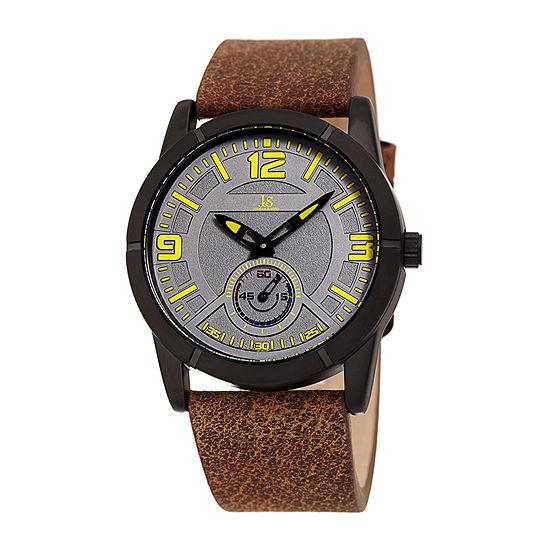 Joshua & Sons Mens Brown Strap Watch-J-135gnbr