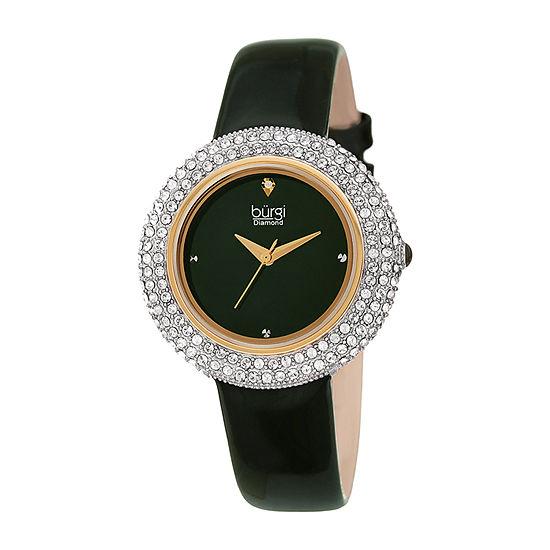 Burgi Womens Green Strap Watch-B-199gn