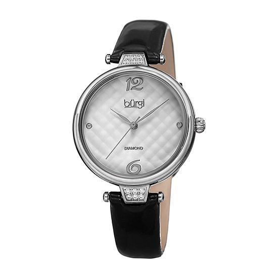 Burgi Womens Diamond Accent Black Leather Strap Watch-B-222bk