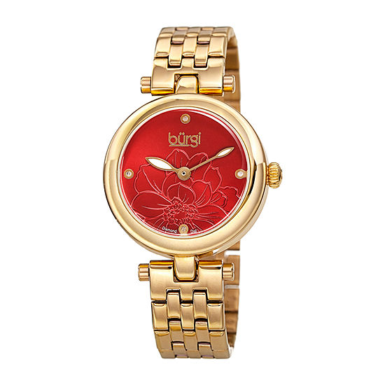 Burgi Womens Gold Tone Bracelet Watch-B-223ygr