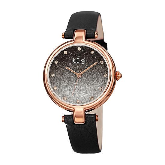 Burgi Womens Black Strap Watch-B-225bk