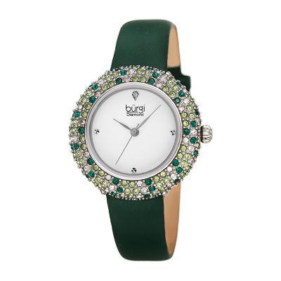 Burgi Womens Green Strap Watch-B-227gn