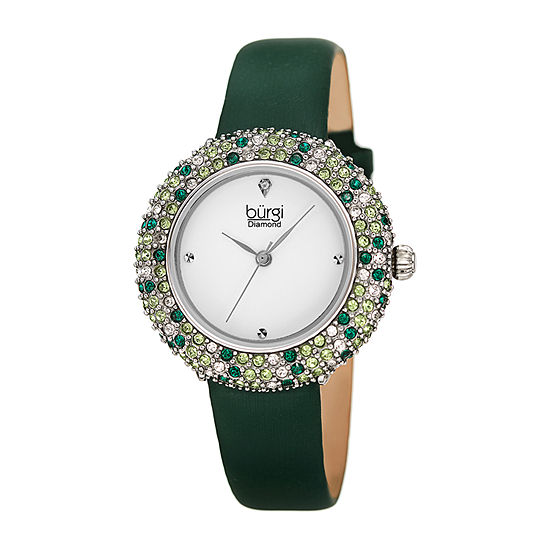Burgi Womens Green Strap Watch-B-227gn