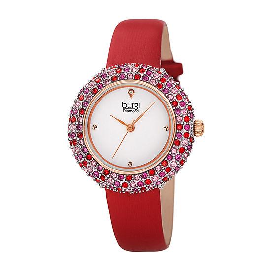 Burgi Womens Red Strap Watch-B-227rd