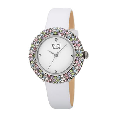 Burgi Womens White Strap Watch-B-227wt