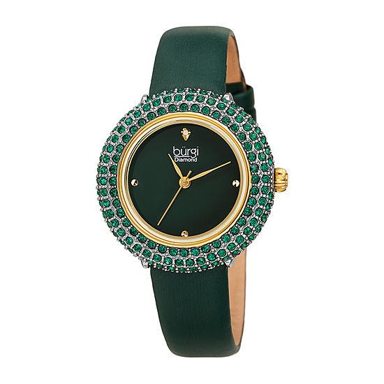 Burgi Womens Green Strap Watch-B-227ygn