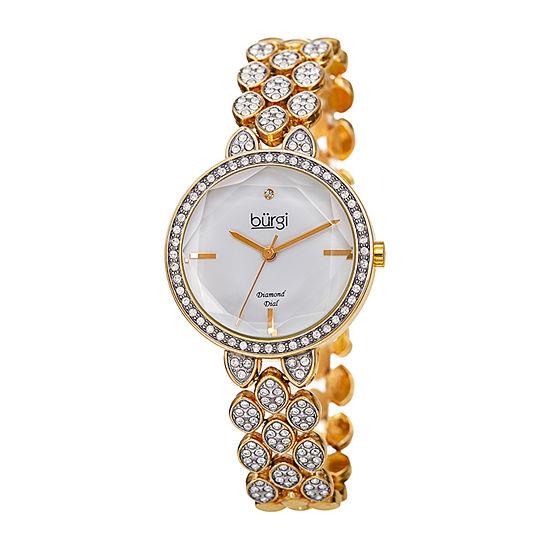 Burgi Womens Gold Tone Bracelet Watch-B-232yg